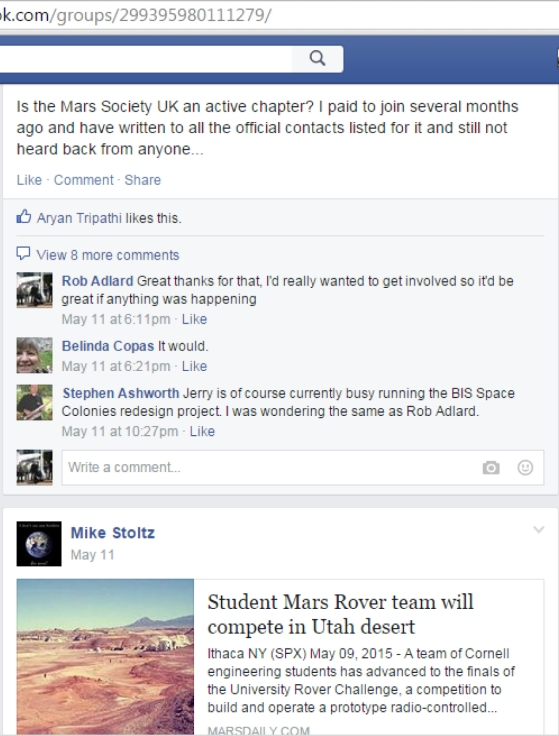 FB mars page screenshot