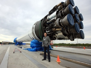 Musk and the Falcon 9. Picture credit Space X