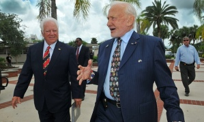 Florida Tech's president, Anthony J Catanese, left, talks with Apollo 11 astronaut Buzz Aldrin as he shows him the campus on Thursday in Melbourne, Florida Photograph: Craig Rubadoux/AP