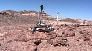 Oregon State's rover  taking part in the Rover Challenge