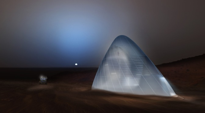 The first-place award of $25,000 went to Team Space Exploration Architecture and Clouds Architecture Office of New York, New York, for their design, Ice House. Image Credit: SEArch/Clouds Architecture Office