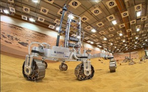 Exomars ESA Rover, made and undergoing testing at Airbus, Stevenage UK, prior to its 2018 mission. Photo credit: Airbus Space and Defence